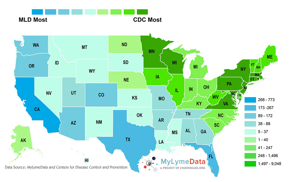 MyLymeData report more Lyme disease in these 24 states than CDC does