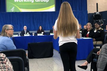 Olivia Goodreau testifying before the working group