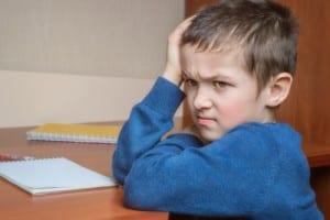photo of sick boy at school