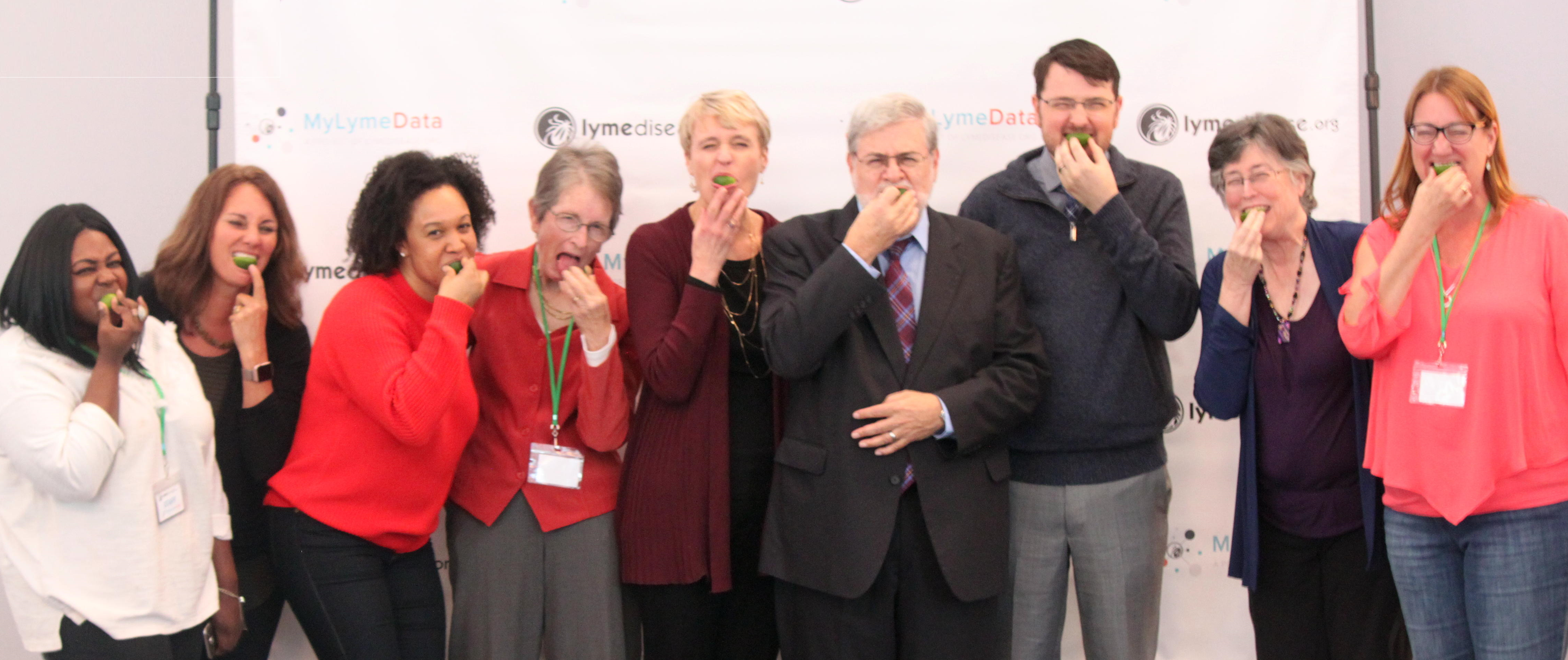 Board, staff, and speakers at MyLymeData2018 take a bite out of Lyme.