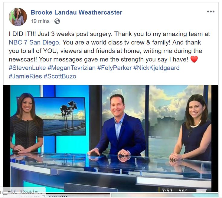 Brooke Landau back at work after surgery