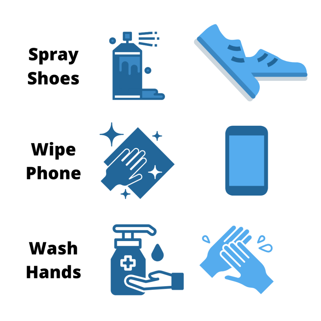 spray shoes wipe phone wash hands