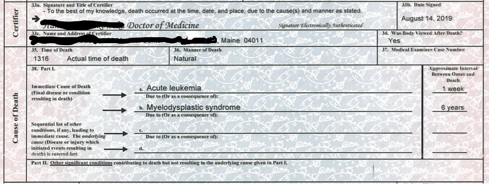 Hamrin death certificate